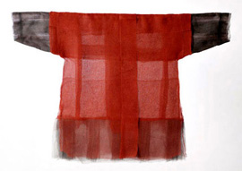 Ueda Kyoko: 'Her Life' 2010 - Kinushi Silk dyed with red iron oxide, 37.5 x 53 inches