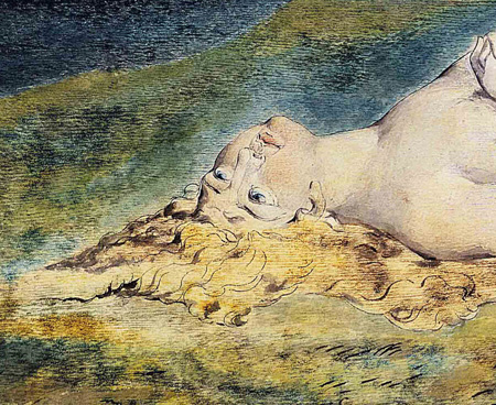William Blake: Pity, detail. Metropolitan Museum of Art, gift of Mrs. Robert W. Goelet, 1958 (58.603). Photograph © copyright 1979, Metropolitan Museum of Art.
