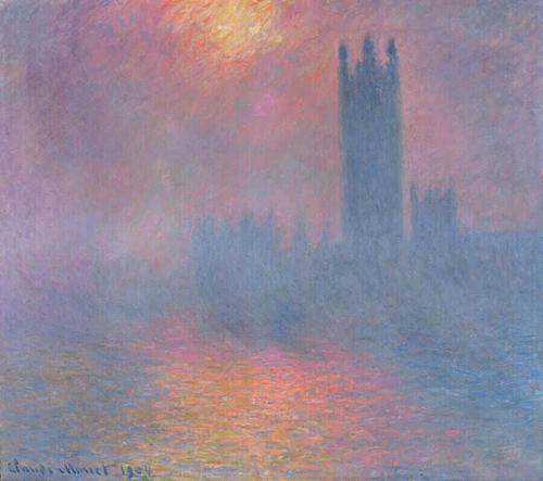 Claude Monet - Londres, le Parlement, Trouee de Soleil dans le Brouillard, 1904