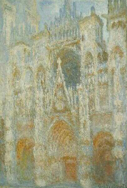Claude Monet - La Cathedrale de Rouen, le portail, soleil matinal; harmonie bleue (1892-1893)