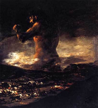 Francisco de Goya, The Colossus 1808–1812 Oil on canvas (46 × 41 in) Museo del Prado, Madrid