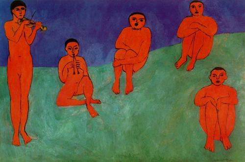 Henri Matisse: La Musique, 1910, 102 x 153 inches, Hermitage, St. Petersberg