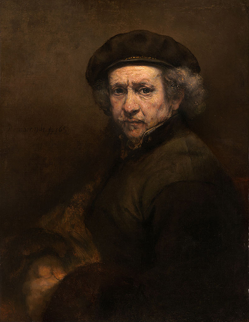 Rembrandt, Self Portrait with Beret and Turned Up Collar, 1659, 33.3 x 26 inches, National Gallery of Art, Washington D.C.