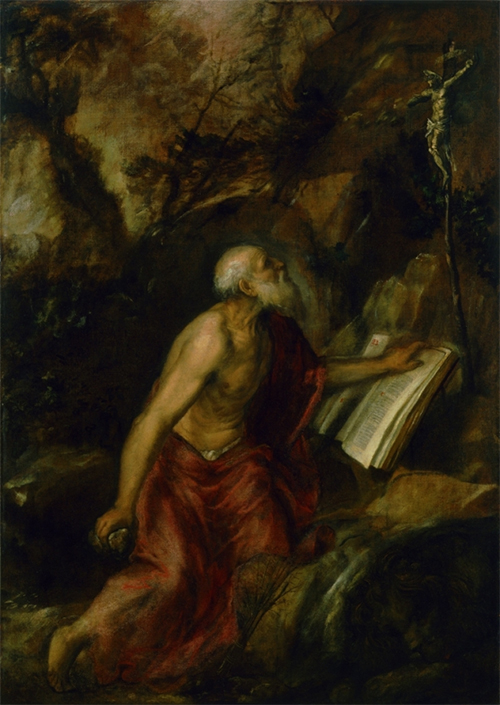 Titian, Saint Jerome in Penitence, 1575, Nuevos Museos, El Escorial, Spain