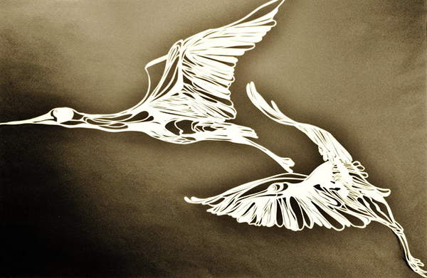 "Jena Argenta: Paper Cranes/ white strathmore charcoal paper cutting mounted on black 16""x20"""