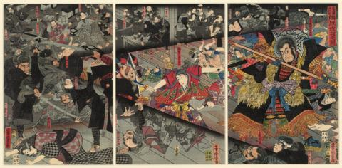 Utagawa YOSHITORA: Kumasaka's night attack on Ushiwaka-maru at the Akasaka Post-station in Mino Province