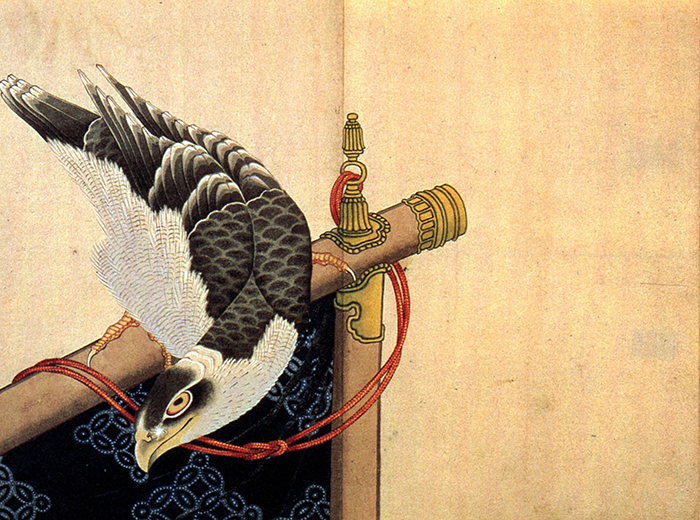Hokusai: Hawk on a Ceremonial Stand
