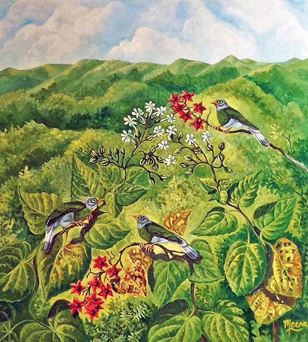 Meena Subramaniam - Grey Headed Bulbuls and Clerodendrums