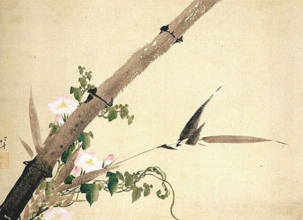 Katsushika Hokusai: Bamboo and Morning Glory