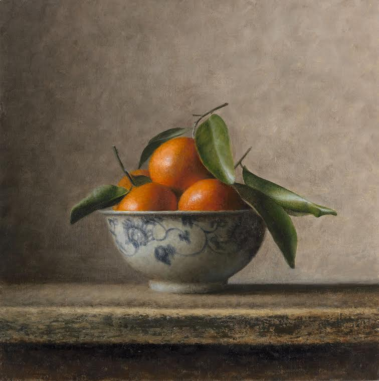 "Bev Byrnes: Bowl with Mandarins, oil on panel, 10""x10"""