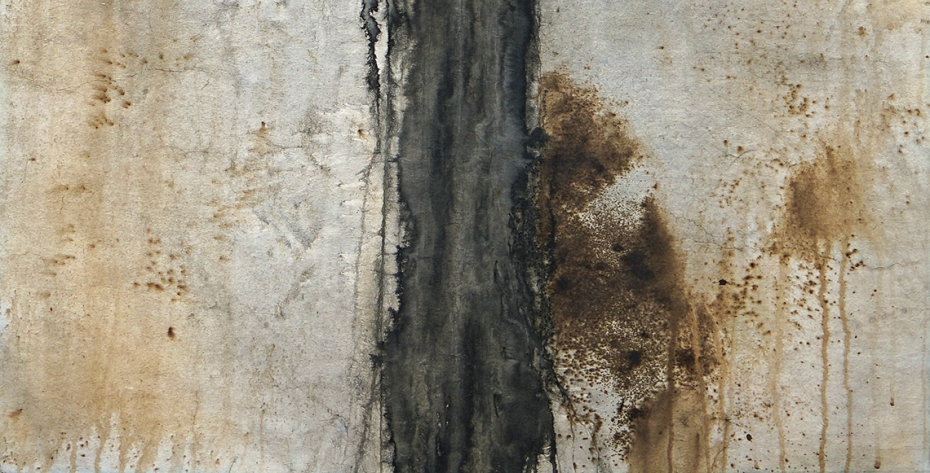 Bev Byrnes: Pathless Path ink, tea stain on Kumohadamashi paper, detail