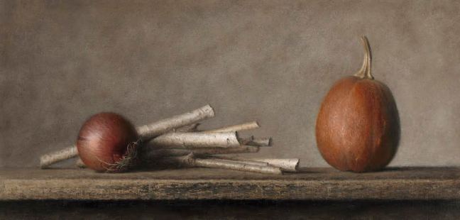 "Bev Byrnes: Red Onion and Winter Squash with Birch Sticks, oil on panel, 12""x24"""