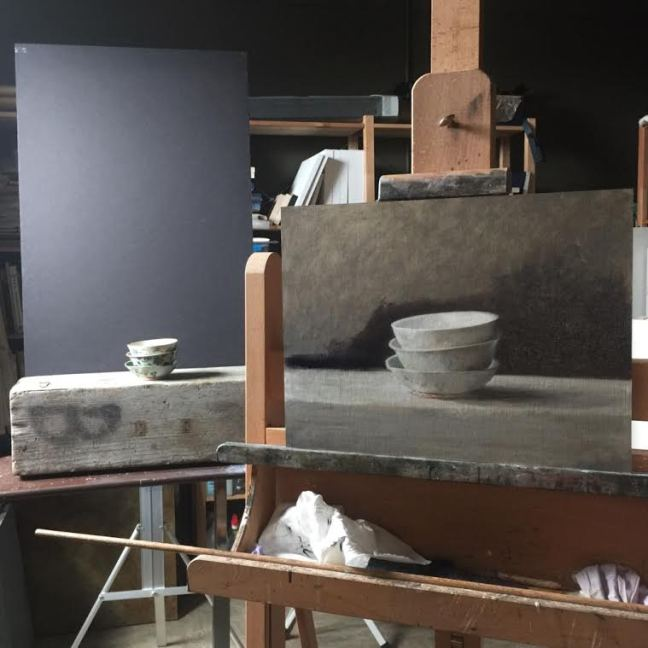 Bev Byrnes: Studio set-up for 'Three Bowls'